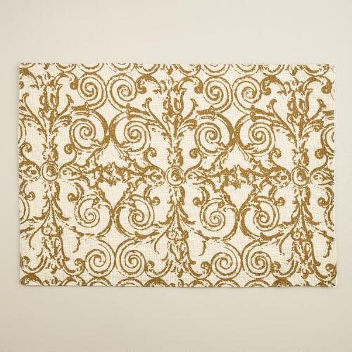 White and Gold Gate Print Jute Placemats, Set of 4