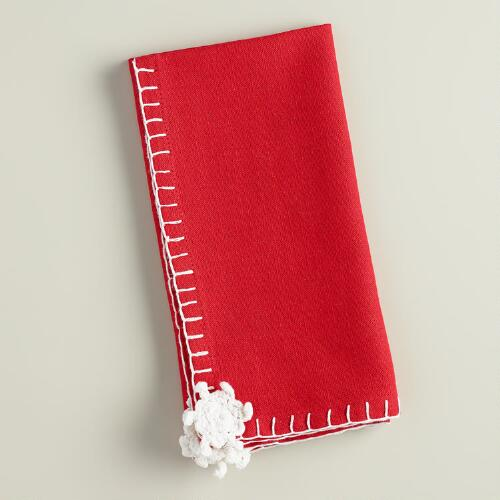Red Snowflake Crochet Cotton Napkins, Set of 4