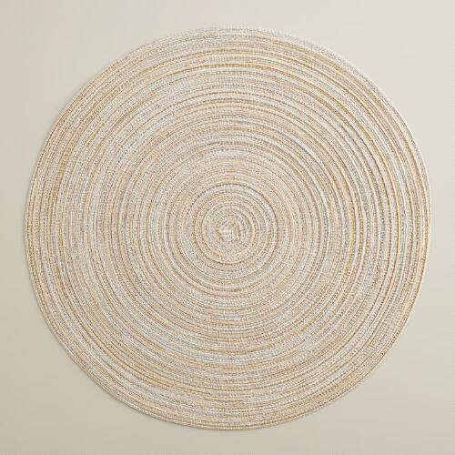 Ivory and Silver Braided Lurex Round Placemats, Set of 4