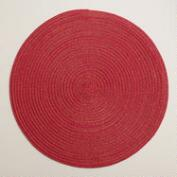 Red and Gold Braided Lurex Round Placemats, Set of 4