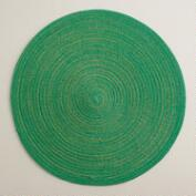Green and Gold Braided Lurex Round Placemats, Set of 4