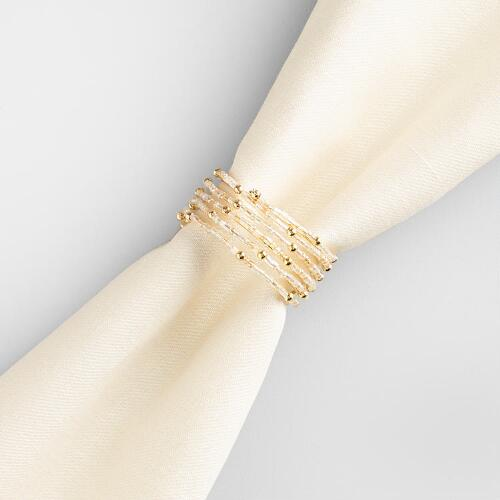 Gold Beaded Spiral Napkin Ring, Set of 4