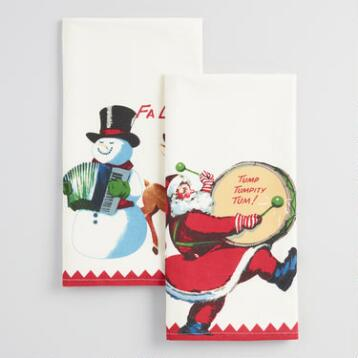 Santa and Snowman Flour Sack Kitchen Towels, Set of 2