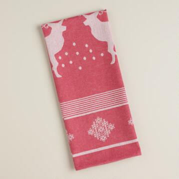 Red Reindeer Jacquard Kitchen Towel