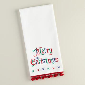 Red and White Merry Christmas Embroidered Kitchen Towel