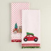 Holiday Car and Truck Cotton Kitchen Towels, Set of 2