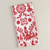 Red and White Suzani Birds Cotton Kitchen Towel