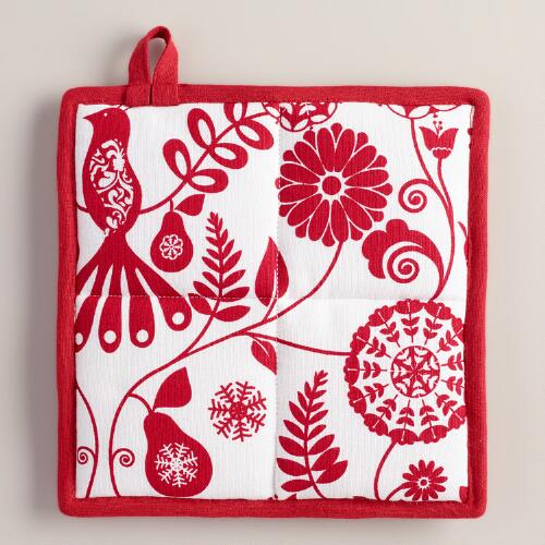 Red and White Suzani Birds Pot Holder
