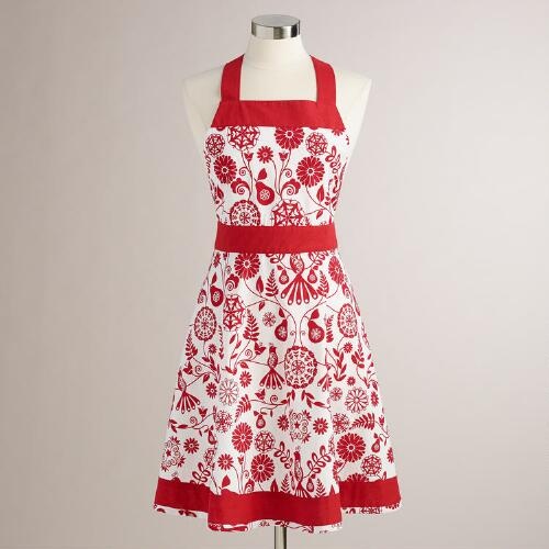 Red and White Suzani Birds Apron