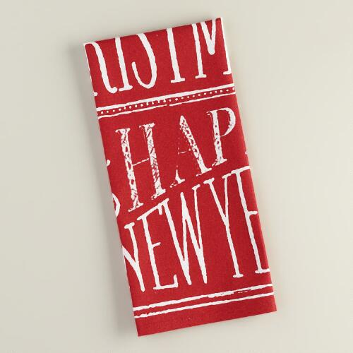 Red and White Chalkboard Christmas Cotton Kitchen Towel