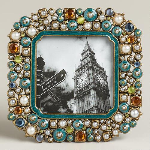 Small Turquoise Beaded Kinsey Frame