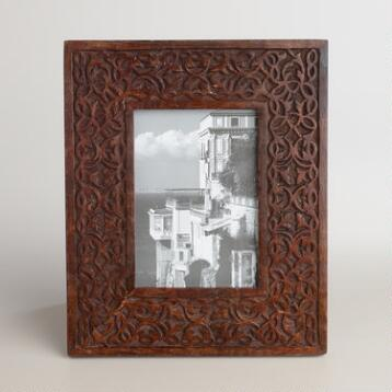 Espresso Carved Wood Deja Frame