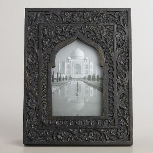 Black and Gold Wooden Taj Arch Frame