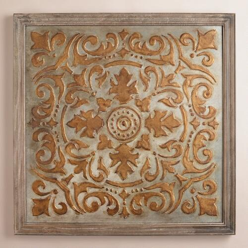 Gold Medallion Mirrored Wall Panel