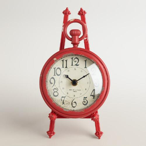 Red Metal Darcy Easel Clock