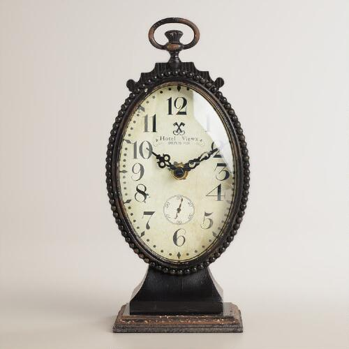 Black Oval Metal Ornate Cece Clock