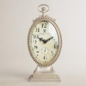 Silver Oval Metal Ornate Cece Clock