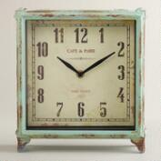 Aqua Square Retro Tilly Tabletop Clock