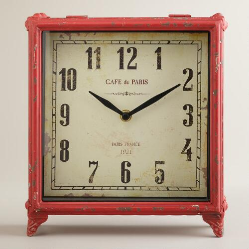 Red Square Retro Tilly Tabletop Clock