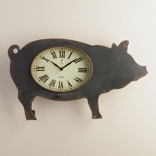 Black Metal Pig Clock