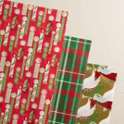 Plaid Buon Natale Wrapping Paper Rolls, 3-Pack