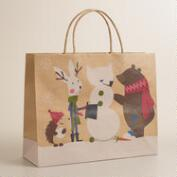 Large Fox & Hare Snowman Gift Bag