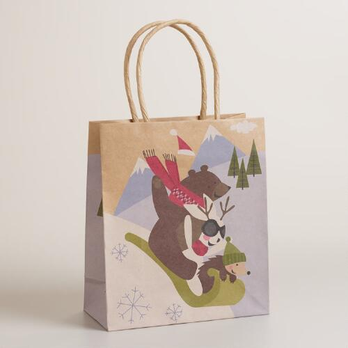 Small Fox & Hare Sleigh Animals Gift Bag