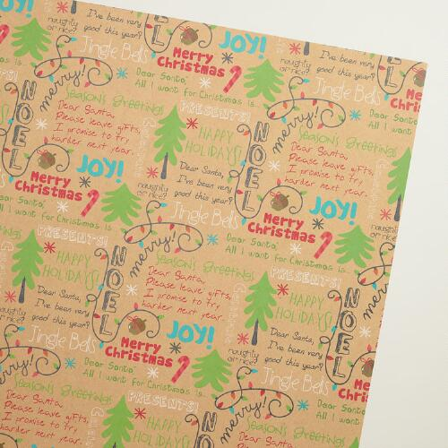 Holiday Message Kraft Wrapping Paper Roll