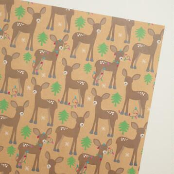 Deer Kraft Wrapping Paper Roll