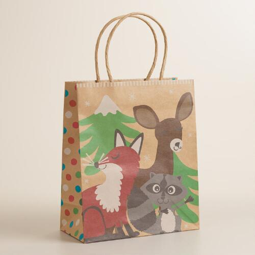 Medium Foxes and Deer Raccoon Gift Bag
