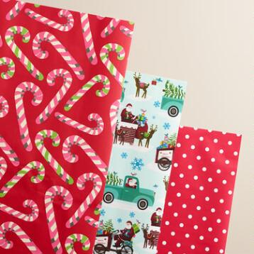 Retro Santa Candy Cane Wrapping Paper Roll, 3-Pack
