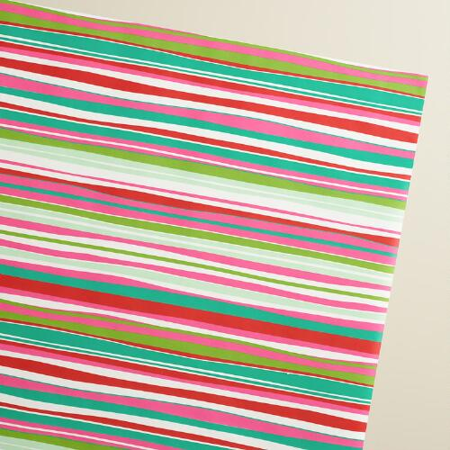 Jumbo Retro Santa Striped Wrapping Paper Roll