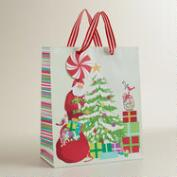 Large Retro Santa and Tree Gift Bag