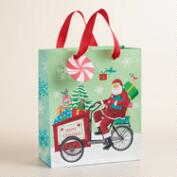Medium Retro Santa on Bike Gift Bag