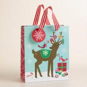 Medium Retro Santa Reindeer Gift Bag