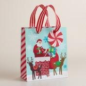 Small Retro Santa on Chimney Gift Bag