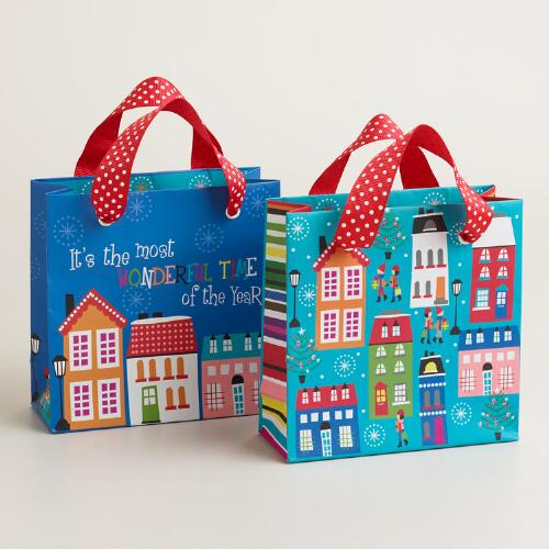 Mini Retro Santa Gift Bags, 2-Pack