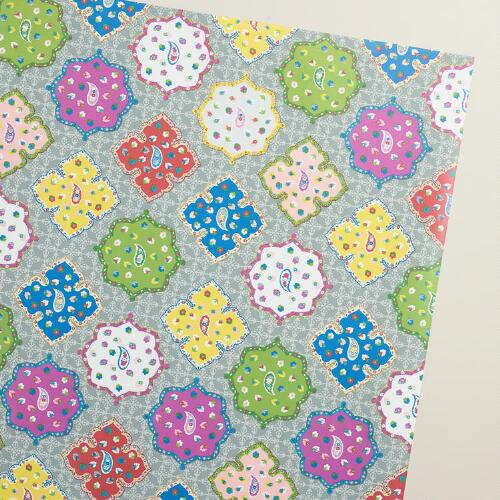 Mistletoe Wishes Global Tiles Wrapping Paper Roll