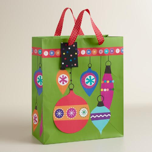 Large Mistletoe Wishes Baubles Gift Bag