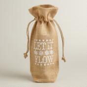 Let it Flow Burlap Wine Bag