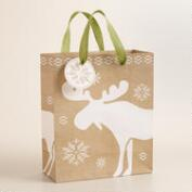 Medium Burlap Moose Gift Bag