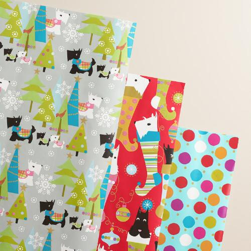 Scottie Dot Wrapping Paper, 3-Pack