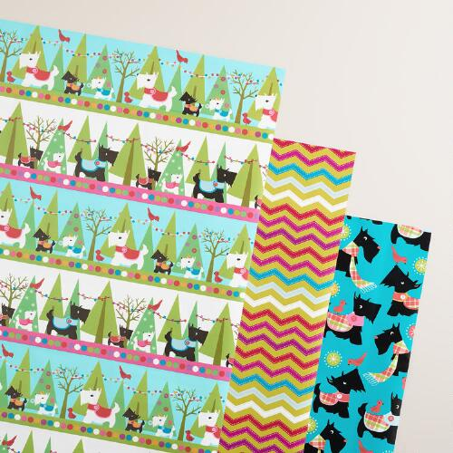 Scottie Chevron Wrapping Paper Roll, 3-Pack