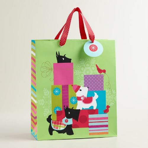 Large Green Scottie Gift Bag