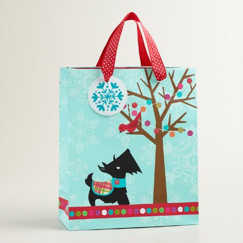 Medium Scottie and Tree Gift Bag