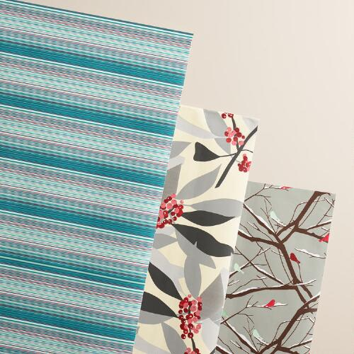 Striped Snowbirds Wrapping Paper Rolls, 3-Pack
