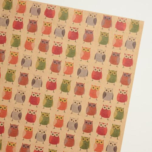 Woodland Owls Kraft Wrapping Paper