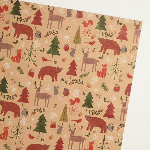 Woodland Animals Kraft Wrapping Paper
