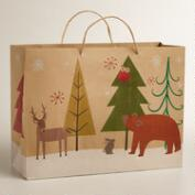 Large Woodland Animals Kraft Gift  Bag