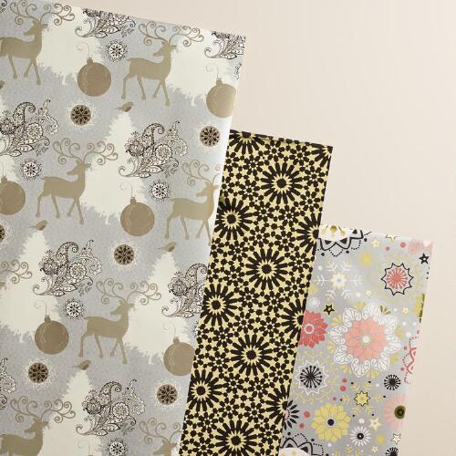 Reindeer Winter Soiree Wrapping Paper Rolls, 3-Pack